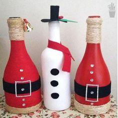 Decoração de Natal 2017 - Idéias para enfeitar a casa Wine Bottle Art, Diy Bottle, Wine Bottle Crafts, Christmas Projects, Holiday Crafts, Christmas Crafts, Christmas Ornaments, Christmas Wine Bottles, Theme Noel