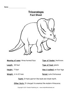 Triceratops Fact Sheet Dinosaur Facts Activities Exhibit Early Childhood Education