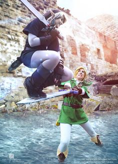 "cosplayfanatics: ""Mastersword Jump - Link vs Dark Link Cosplay by Evil-Siren This is really awesome "" - COSPLAY IS BAEEE!!! Tap the pin now to grab yourself some BAE Cosplay leggings and shirts! From super hero fitness leggings, super hero fitness shirts, and so much more that wil make you say YASSS!!!"