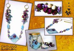 Collar bronce rombo color violeta  Largo: 45cm  $45 (pesos argentinos)