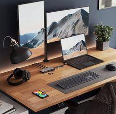 Computer Desk Setup, Workspace Desk, Home Office Setup, Home Office Design, Geek Room, Bedroom Setup, Desk Inspiration, Luxury Office, Container House Design