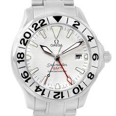 3062ad9e05fa 16546 Omega Seamaster 300M GMT White Wave Dial Watch 2538.20.00 Box Card  SwissWatchExpo Reloj