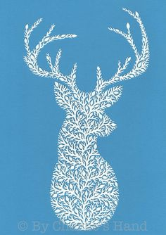 'Mr Stag' Papercut Christmas Card - Blue