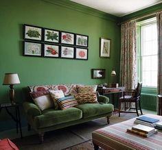 45 Adorable Green Sofa And Chair Design Ideas For Living Room Ercol Chair, Green Velvet Sofa, Kitchens And Bedrooms, Green Rooms, Green Walls, Living Room Colors, Living Rooms, Living Spaces, Country Style Homes