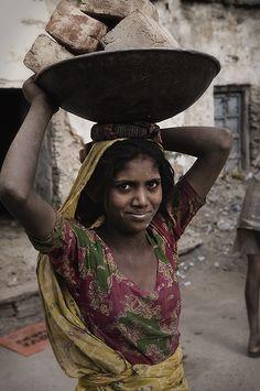 Construction girl, India