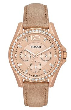 Casual but still classy. Wish I could make myself wear a watch. Fossil 'Riley' Crystal Bezel Leather Strap Watch, 38mm available at #Nordstrom