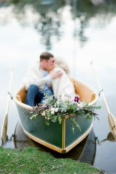 It doesn't get much more romantic than this! http://www.stylemepretty.com/2015/06/01/denver-rowboat-engagement-session/ | Photography: Tamara Gruner - http://www.tamaragrunerphotography.com/