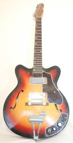 Vintage Modified Kawai or Teisco Sunburst Hollowbody Electric Guitar