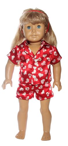 18 inch doll 2 piece Valentine pajama set for American Girl. $12.99, via Etsy.