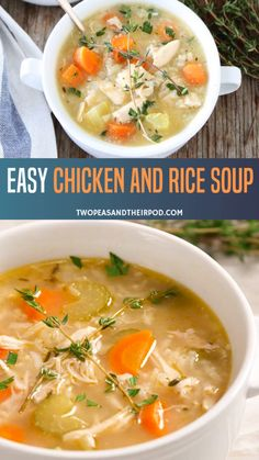 This Chicken Rice Soup is a hearty, healthy soup recipe that's perfect for fall! Loaded with vegetables, lean chicken and brown rice it can be made stove top, slow cooker or crockpot. An easy dinner recipe for chilly winter days! Easy Chicken And Rice Soup Recipe, Lemon Rice Soup, Vegetable Soup With Chicken, Chicken Soup Recipes, Healthy Soup Recipes, Chicken And Vegetables, Simple Recipes, Keto Recipes, Crockpot Recipes