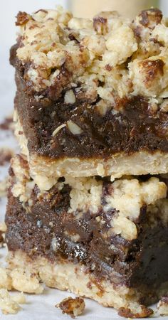 Beautiful contrast of chocolate filling between two oatmeal layers. Pure decadence - Chocolate Oatmeal Bars