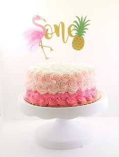 Flamingo Cake Topper, Flamingo one Cake Topper, Custom Cake Topper, Flamingo & Pineapple Cake Topper , Tropical Birthday Cake Topper - Birthday Cake Blue Ideen 1st Birthday Cake Topper, Novelty Birthday Cakes, First Birthday Cakes, Birthday Ideas, Flamingo Cake, Flamingo Birthday, Flamingo Party, Dessert Party, Custom Cake Toppers