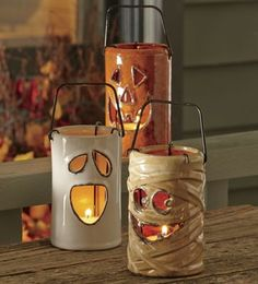 Set of 3 Ceramic Halloween Lanterns ~ Mummies and pumpkins and ghosts, oh my!