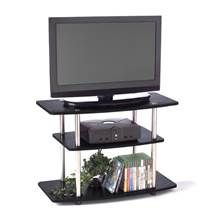 3-Tier TV Stand in Black Finish