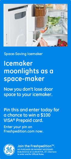 Space-Saving Icemaker - Icemaker moonlights as a space-maker. Now you don't lose door space to your icemaker. #GEfreshPA