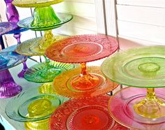 Glass Cake Stands colorful cake by marionsvintagebakery on Etsy All purple >> only $25!