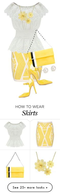 """""""Yellow Aztec Print Skirt (1)"""" by queenrachietemplateaddict on Polyvore featuring Jane Norman, WithChic, Tomasini, ShoeDazzle, Arabel Lebrusan and Blue Nile"""