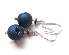 925 Sterling Silver Earrings, Round Druzy Agate Dangle Earrings For Women, Gifts For Her, Blue Earrings, Swarovski Crystal.