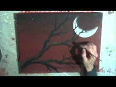 ▶ Acrylic Painting on Canvas : Cherry Blossom Moon : Demonstration - YouTube