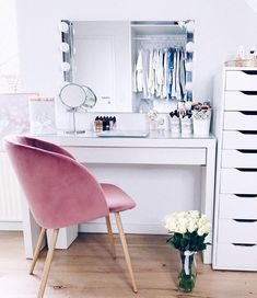 favorite place at home ? favorite place at home ? Dressing room goals from dressing room featuring our Diaz Hollywood Mirror. Makeup Room Decor, Decor Room, Bedroom Decor, Home Decor, Bedroom Ideas, Aesthetic Room Decor, Glam Room, Cozy Room, Beauty Room