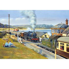 Working Together 2 x Jigsaws. All is busy on the Great Western as these two country stations see the comings and goings of the holiday specials. Train Posters, Railway Posters, Steam Art, Heritage Railway, Nostalgic Art, Steam Railway, Bonde, Train Art, Train Pictures