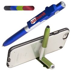 PL-1843  4-in-1 Multi-Purpose Pen. ABS plastic compact multi-purpose twist-action ballpoint pen. Unique pen can also be used as a stylus, mini LED flashlight and a phone or tablet holder. Clip to mobile devices/cell phone and fold to create a stand. Soft silicone tip for use with touchscreen devices, and screen cleaner on cap.