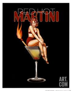 Drinks with a Kick Series Vintage Alcohol Cocktail Martini Print Poster 12x12