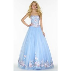Alyce 6797 Ball Gown Long Strapless Sleeveless ($668) ❤ liked on Polyvore featuring dresses, gowns, formal dresses, light blue, long prom dresses, light blue prom dresses, long lace dress, long evening dresses and formal gowns