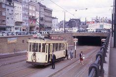 Tramway de Bruxelles en 1963 Tramway, Light Rail, Vintage Postcards, Street View, Brussels, Trains, Photos, Image, Old Pictures