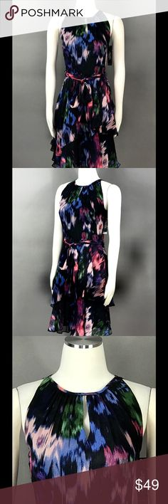 TAHARI Dress Sz 4 Chiffon Floral Print Belted NEW TAHARI Black Raspberry Dress Sz 4 Chiffon Layered Floral Print Belted Key Hole Lined Casual Women's NEW Tahari Dresses Midi