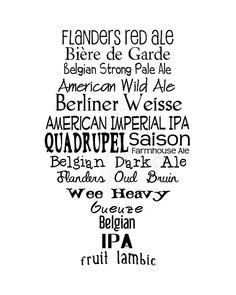 Printable Beer Art Tulip Styles por OwlTypes en Etsy
