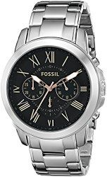 Fossil Men's FS4994 Grant Chronograph Stainless Steel Watch – Silver-Tone
