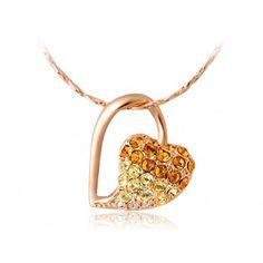 18K RGP Alloy Stencil Heart Pedant Necklace