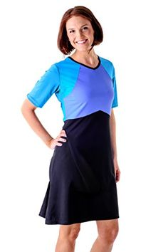 HydroChic Plus Size Short Sleeve Swim Dress 1X in BlackSea BluePeriwinkle Blue ** Find out more about the great product at the image link.