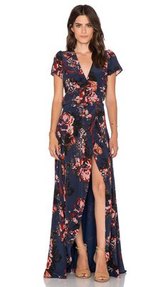 Helena Quinn Claire Maxi Wrap Dress in Navy Rose Print | REVOLVE