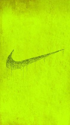 ↑↑TAP AND GET THE FREE APP! Art Creative Nike Just Do It Logo Acid Yellow Green Black Painting HD iPhone Wallpaper
