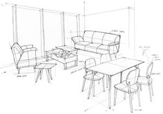 """Product Sketches for iloom advertisement The concept of this advertisement is """"Propose"""". The iloom is a Fursys group home furniture brand from South Korea.-Advertisment in Korean- Designed by iloomSketched by Sihyeong Ryu당신의 생각을 생각합니다당신은 옷장& One Point Perspective Room, Perspective Drawing Lessons, Drawing Furniture, Furniture Design, Furniture Sketches, Interior Exterior, Interior Architecture, Pop Design, Sketch Design"""