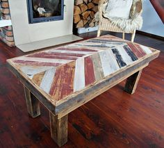 Hand Crafted Rustic Reclaimed Wooden Coffee Table by DesignInFocus