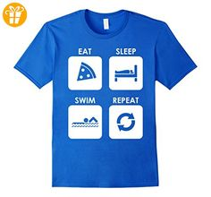 Eat Sleep Swim Repeat Swimming Sports Water Funny Tee Herren, Größe M Königsblau (*Partner-Link)