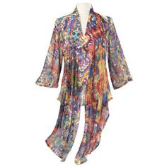 Kaleidoscope Jacket  Exclusive! Flower Power. Far out? It's psychedelic! A virtual kaleidoscope of colors, this floaty, printed-georgette jacket streams from its collar, sleeves, and lapels to trailing, rippling sides.