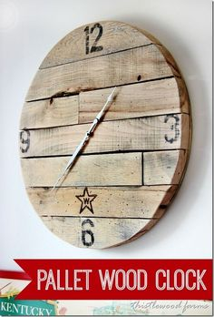 Make a pallet wood clock from pallets and a plywood base. Easy green project! thistlewoodfarms.com