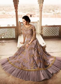 Buy Stylish Purple Color Designer Lehenga Style Salwar Suit your favorite adorable salwar kameez and wedding salwar kameez, and designer pakistani suits at Robe Anarkali, Costumes Anarkali, Anarkali Suits, Lengha Choli, Sarees, Abaya Style, Lehenga Style, Dresses Uk, Dresses For Sale