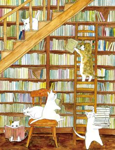 Bookish Things — Cat Reading a Book and Cat Library by DeviantArt. I Love Cats, Crazy Cats, I Love Books, Books To Read, Cat Reading, Book Nooks, Cat Art, Cats And Kittens, Book Art