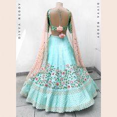 A fresh breath of teal blue is back to make this summer pleasant. Pure handloom tussar silk embroidered with thread badla and zardozi is a perfect fusion for a wedding. Indian Wedding Gowns, Indian Dresses, Indian Outfits, Eid Outfits, Eid Dresses, Desi Wedding, Indian Clothes, Indian Bridal, Choli Designs