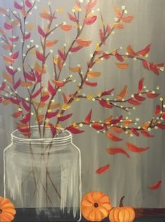 We host painting events at local bars. Come join us for a Paint Nite Party! Fall Canvas Painting, Autumn Painting, Autumn Art, Diy Canvas, Diy Painting, Painting & Drawing, Fall Paintings, Halloween Painting, Halloween Canvas Paintings
