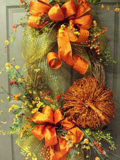 Fall Wreath, Autumn Wreath, Halloween Wreath, Pumpkin Wreath, Grapevine Wreath on Etsy, $124.95