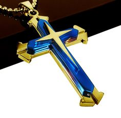 Blue and Gold Stainless Steel Cross Pendant Necklace - Thin Blue Line Shop Jewish Jewelry, Line Shopping, Gold Cross, Thin Blue Lines, Family Gifts, Cross Pendant, Blue Gold, Fashion Necklace, Best Gifts