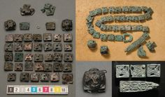 Belt from Birka 34 kvadratiska beslag med djurornamentik. Viking Clothing, Viking Jewelry, Old Jewelry, Viking Garb, Viking Reenactment, Norse People, Norwegian Vikings, Viking Metal, Late Middle Ages