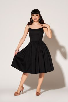 Pinup Couture Jenny Dress in Black | Retro Style Swing Dress | Pinup Girl Clothing