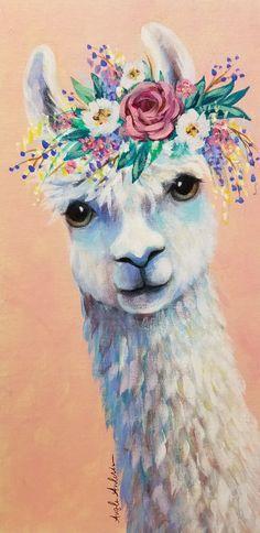 Boho Llama Acrylic painting Tutorial by Angela Anderson on YouTube #acrylicpainting #llama #boho #fredrixcanvas #princetonbrushes
